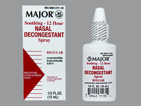 12 Hour Nasal Decongestant Spray (Major), 0.5 oz.