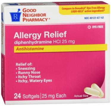 Compare to Benadry Allergy Relief Diphenhydramine Dye-free Liquid-gel Capsules