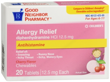 Compare to Benadryl Children's Allergy Relief Diphenhydramine Chewable Tablets