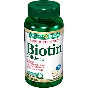 Biotin 5000mcg Hair, Skin, and Nail Supplement (Nature\'s Bounty ...